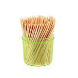 toothpicks in plastic container isolated on white Royalty Free Stock Images