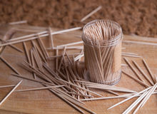 Toothpicks in a plastic container Stock Images