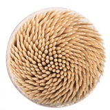 Toothpicks in a round box Royalty Free Stock Photo