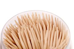 Toothpicks in a round box. Royalty Free Stock Images