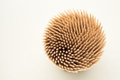 Toothpicks in the round box stock photo