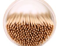 Toothpicks in a round box, top view Stock Images