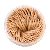Toothpicks in a round box, top view Royalty Free Stock Images