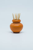 Toothpicks in small pottery. Royalty Free Stock Photo
