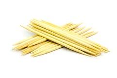 Toothpicks su priorità bassa bianca Fotografia Stock