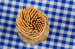 Toothpicks on a tablecloth Royalty Free Stock Images