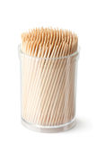 Toothpicks in transparent plastic box Royalty Free Stock Images