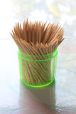 Toothpicks in transparent plastic cylinder Royalty Free Stock Photo