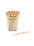 Toothpicks in vetro di plastica fotografia stock