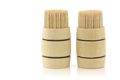 Toothpicks in a wooden barrel Stock Photo