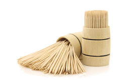 Toothpicks in a wooden barrel Royalty Free Stock Image