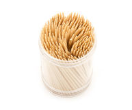 Toothpicks. Wooden toothpicks on white background royalty free stock photos