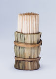 Toothpicks. Wrap in bambbo grass Royalty Free Stock Images