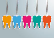 5 Toothstickers. On the gray background Stock Photo