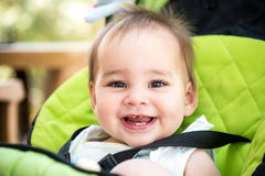 Toothy Baby Girl Smiling Close Up Portrait. Outdoors Stock Photography