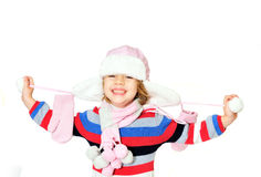 Toothy glimlach van de winter gilr Stock Foto's