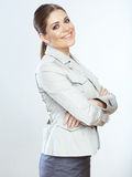 Toothy glimlachende bedrijfsdievrouw op whteachtergrond wordt geïsoleerd Stock Foto's
