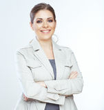 Toothy glimlachende bedrijfsvrouw op whteachtergrond. royalty-vrije stock foto
