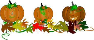 Toothy pumpkins for halloween. Toothy pumpkins in 3d with leaves and vines for Halloween  background on white Royalty Free Stock Photos