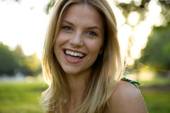 Toothy Smile Blonde Girl Royalty Free Stock Images