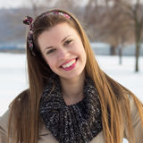 Toothy smile girl. Portrait of the beautiful smiling girl, winter Stock Image
