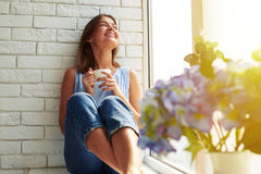 Toothy smile happy girl enjoying a peaceful sunny summer day Royalty Free Stock Photos