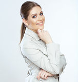 Toothy smiling business woman isolated on whte background. Portrait of toothy smiling business woman, isolated on white background Stock Photos