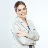 Toothy smiling business woman isolated on whte bac Royalty Free Stock Photos