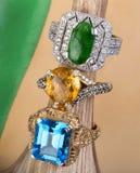 Topázio, citrine e Jade Rings imagem de stock