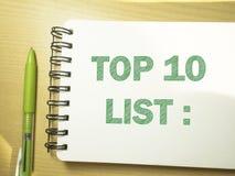 Top 10 κατάλογος, επιχειρησιακά κινητήρια εμπνευσμένα αποσπάσματα, τοπ εγγραφή άποψης τυπογραφίας λέξεων στοκ εικόνα με δικαίωμα ελεύθερης χρήσης