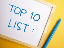 Top 10 κατάλογος, κινητήρια έννοια αποσπασμάτων λέξεων στοκ εικόνα με δικαίωμα ελεύθερης χρήσης