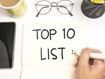 Top 10 κατάλογος, κινητήρια έννοια αποσπασμάτων λέξεων στοκ φωτογραφία