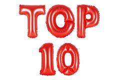 Top 10, κόκκινο χρώμα Στοκ φωτογραφία με δικαίωμα ελεύθερης χρήσης