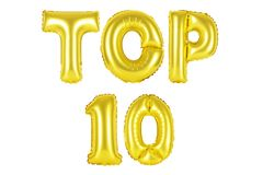 Top 10, χρυσό χρώμα Στοκ φωτογραφίες με δικαίωμα ελεύθερης χρήσης