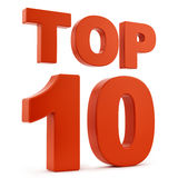 Top 10. Render of top 10,  on white Stock Images