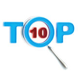 Top-10 under the magnifier isolated. Top ten under the magnifier isolated on white Royalty Free Stock Image