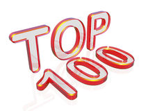 Top 100. 3d text TOP 100 isolated on white background Stock Image