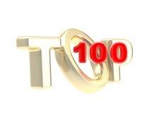 Top-100 emblem symbol isolated. Top 100 emblem symbol isolated on white Royalty Free Stock Photos