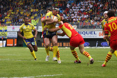 Top 14 rugby match USAP vs ASM Clermont Stock Image