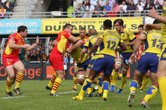 Top 14 rugby match USAP vs ASM Clermont Auve Royalty Free Stock Images