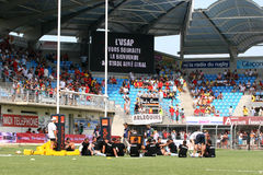 Top 14 rugby match USAP vs Bayonne Stock Images