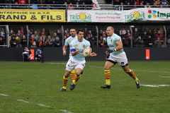 Top 14 rugby match USAP vs Bourgoin Stock Images