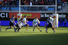 Top 14 rugby match USAP vs Castres Stock Images