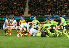 Top 14 rugby match USAP vs Montauban Stock Image