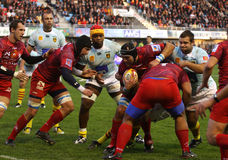 Top 14 rugby match USAP vs Montpellier Stock Images