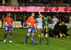 Top 14 rugby match USAP vs Montpellier Stock Image