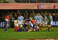 Top 14 rugby match USAP vs Montpellier Stock Photos