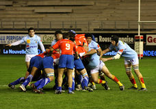 Top 14 rugby match USAP vs Montpellier Stock Photo