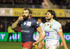 Top 14 rugby match USAP vs Racing 92 Royalty Free Stock Photo