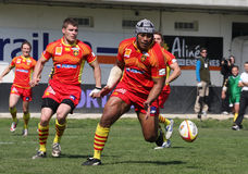 Top 14 rugby match USAP vs Stade Montois Royalty Free Stock Photo